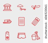 vacation icon. set of 9... | Shutterstock .eps vector #606523061
