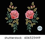 beautiful hand drawn embroidery ... | Shutterstock .eps vector #606525449