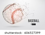 silhouette of a baseball ball.... | Shutterstock .eps vector #606527399