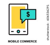mobile commerce glyphs icon | Shutterstock .eps vector #606536291