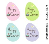 easter eggs with robin's nest | Shutterstock .eps vector #606537875