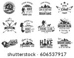 hiking club badge. mountains... | Shutterstock .eps vector #606537917