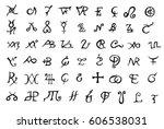 a set of alchemical symbols... | Shutterstock .eps vector #606538031