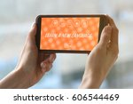 hands pointing at smartphone... | Shutterstock . vector #606544469