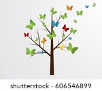 Abstract Tree With Butterflies...