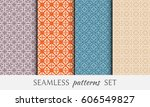 set of 4 seamless geometric... | Shutterstock .eps vector #606549827