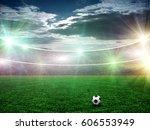 soccer stadium and beautiful... | Shutterstock . vector #606553949