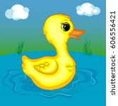 duckling on the pond  cartoon... | Shutterstock .eps vector #606556421
