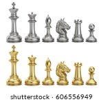 Gold And Silver Chess Figures...
