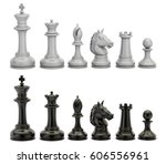 black and white chess figures... | Shutterstock . vector #606556961