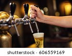 bartender pouring from tap...   Shutterstock . vector #606559169