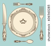 hand drawn vintage cutlery and... | Shutterstock .eps vector #606560285