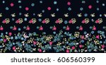 flowery bright border in small... | Shutterstock .eps vector #606560399