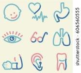 medicine icons set 2  colour... | Shutterstock .eps vector #606560555