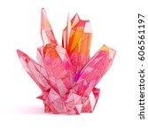 red gemstone. geometric crystal ... | Shutterstock . vector #606561197