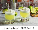 two pisco sour cocktails with... | Shutterstock . vector #606566744
