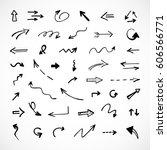 hand drawn arrows  vector set | Shutterstock .eps vector #606566771