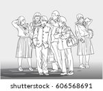 line art illustration of young... | Shutterstock .eps vector #606568691