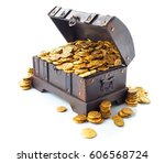open treasure chest filled with ... | Shutterstock . vector #606568724