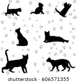 Stock vector silhouette of a cat and a kitten on a white background group in different poses 606571355