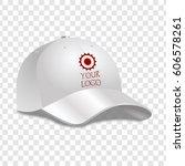 realistic white baseball cap.... | Shutterstock .eps vector #606578261