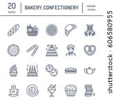 bakery  confectionery line... | Shutterstock .eps vector #606580955