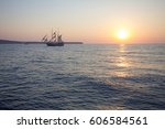 the sunset in the sea with a... | Shutterstock . vector #606584561