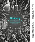 bakery top view frame. hand... | Shutterstock .eps vector #606587474