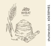 background with wheat  bag with ... | Shutterstock .eps vector #606589481