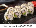 sushi roll sushi with prawn ...   Shutterstock . vector #606590909