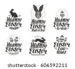 happy easter  label set. egg ... | Shutterstock .eps vector #606592211