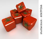 3D rendering of a group of cubic tomatoes - stock photo
