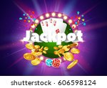 the word jackpot  surrounded by ... | Shutterstock .eps vector #606598124