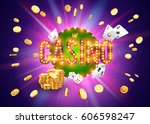 the word casino  surrounded by... | Shutterstock .eps vector #606598247