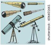 set of astronomical instruments ... | Shutterstock .eps vector #606601661
