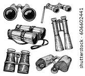 binocular monocular vintage ... | Shutterstock .eps vector #606602441