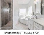 modern white bathroom interior | Shutterstock . vector #606615734
