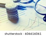summary report and financial... | Shutterstock . vector #606616061