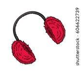 winter clothes. earmuffs.... | Shutterstock .eps vector #606622739