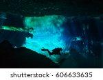 diver exploring underwater... | Shutterstock . vector #606633635