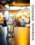 close up of empty beer mug for... | Shutterstock . vector #606643421