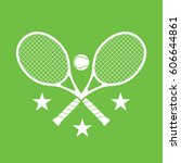 a simple set of crossed tennis... | Shutterstock .eps vector #606644861