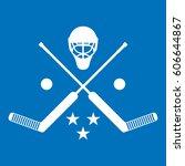 a set of crossed goalie sticks... | Shutterstock .eps vector #606644867