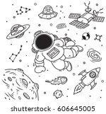 space theme doodle with... | Shutterstock .eps vector #606645005