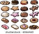 various cookie icons hand drawn ... | Shutterstock .eps vector #6066460