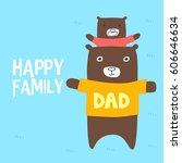 kid bear piggybacking on his... | Shutterstock .eps vector #606646634