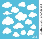 clouds set icons vector... | Shutterstock .eps vector #606647561