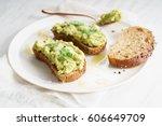 healthy breakfast toast with...   Shutterstock . vector #606649709