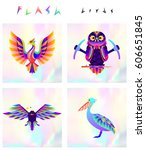 set of multicolored bird icons... | Shutterstock .eps vector #606651845