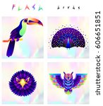 set of multicolored bird icons... | Shutterstock .eps vector #606651851